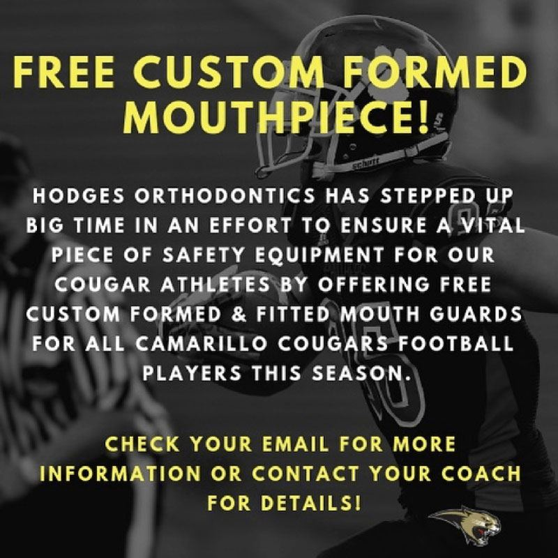 special on sports mouth guards for the Camarillo Cougars highschool team from Hodges Orthodontics