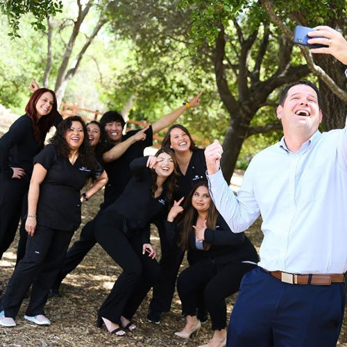 the staff of Hodges Orthodontics taking a fun selfie